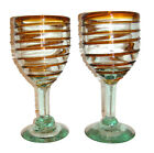 Mexican Hand Blown Wine Glass Set of 2 Brown Spiral Design