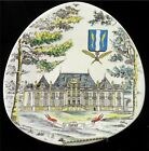 Longwy Triangular Plate Hand Painted Mansion Scene France