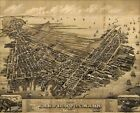 LARGE VINTAGE historical EAST BOSTON MASS 1879 OLD WORLD ANTIQUE STYLE MAP print