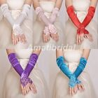 New Wedding Girls Evening Party Fingerless Pearl Lace Satin Bridal Gloves