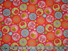 PRETTY LADYBUG BUTTERFLY BEE  FLOWER PINK TOSS COTTON FLANNEL FABRIC YARD