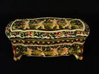 ANTIQUE CAPO-DI-MONTE PORCELAIN ENAMELED COVERED DRESSER BOX , CHERUB DESIGN