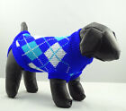 Dog Sweater Blue Plaid Clothes Knitted Jacket Jumper Puppy Coat Chihuahua XS XL