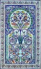 DECORATIVE TURKISH TILES: MOSAIC PANEL HAND PAINTED WALL MURAL ART  72in x 42in