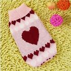 Dog Sweater Pink Hearts Clothes Knitted Jacket Jumper Puppy Coat Chihuahua XS XL