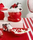 Fitz & Floyd Merry Christmas Kitty Claus Lidded Box NIB