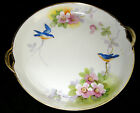 Nippon Hand Painted Handled Plate  Bluebirds and Florals