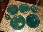 6 Pcs Rowe Pottery Forest Green Oak Maple Leaf Plates Bowls Mug