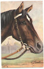 HORSES The German Horse Racing Head of a Horse Art Signed Oilette old Postcard