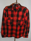 VINTAGE 1950s LL BEAN PLAID WOOL SHIRT JACKET! RED & BLACK! 2 CHEST POCKETS! M