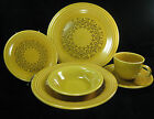 Vintage 1969 Casualstone Coventry USA Antique Gold Fiestaware 6 Pc Place Setting