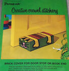 1972 Paragon Colorful Cat Brick Cover / Doorstop Crewel Stitchery Kit NIP
