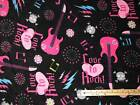 Love to Rock Pink Girl Guitar Skull Fleece Fabric by the Yard  BTY