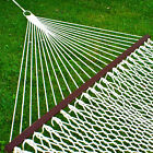 BCP Cotton Rope Double Hammock w Carrying Case Spreader Bars White