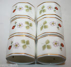 Wedgwood Wild Strawberry 6 Napkin Rings Bone China Made in England White Gold