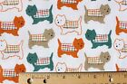 SNUGGLE FLANNEL SCOTTIE WESTIE TERRIER DOG IN COATS on WHITE 100 Cotton BTY