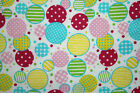 SNUGGLE FLANNEL  PASTEL MULTI COLOR CIRCLES on WHITE 100 Cotton NEW BTY