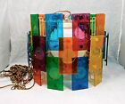 Mid Century 30 Multicolor Lucite Panels LIGHT FIXTURE SWANG HANGING LAMP 1960s