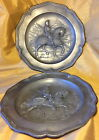 Vtg Pair PEWTER Decorative Wall Plates w Albrecht Durer Suit of Armor Knight