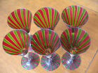 Venetian Murano Crystal Tall Wine Goblet Red/Green Gold Dust Set of 6 BEAUTIFUL!