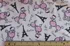 SNUGGLE FLANNEL French POODLES IN PARIS Dog Eiffel Tower 100 Cotton Fabric BTY