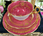 ROYAL STAFFORD TEA CUP AND SAUCER RED & RAISED BEADED GOLD TEACUP TRIO A/F