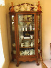 Antique Oak Dining Room Set Table Chairs Buffet China Cabinet Secretary Desk