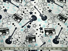 ROCK AND ROLL COTTON FLANNEL FABRIC Guitar Radio Music Instruments  short 1/2 YD