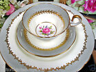 AYNSLEY TEA CUP AND SAUCER TRIO LANCASTER PATTERN TEACUP PINK ROSES