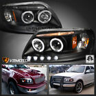 1997-2004 Ford F150 LED Strip Halo Projector Headlights Black Left+Right