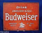 BUDWEISER LAGER BEER ANHEUSER BUSCH BUD Red Metal Tin Sign Vintage Wall Decor