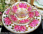 RARE ROYAL CHELSEA TEA CUP AND SAUCER TRIO CABBAGE ROSE GOLD GILT CUP