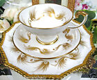 AYNSLEY TEA CUP AND SAUCER  PEDESTAL GOLD GILT FEATHER TEACUP TRIO