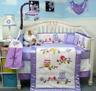SoHo Lavender Owls Party Baby Crib Bedding 13 pcs Set included Diaper Bag