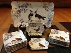15 Pc Rare Antique Limoges Platter &14 Plates wild game Porcelain Set Gold Trim.