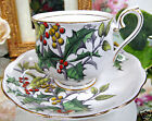 ROYAL ALBERT TEACUP HOLLY FOTM TEA CUP AND SAUCER HANDPAINTED BEADED