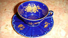 VINTAGE ECHT COBALT TEA COFFEE CUP SAUCER 22 K GOLD HAND PAINTED BAVARIA GERMANY