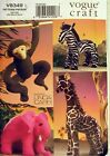 Vogue sewing pattern: stuffed ZOO ANIMAL TOYS giraffe zebra elephant monkey