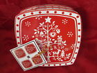 222 FIFTH HOLIDAY TIVOLI RED CHRISTMAS TREE APPETIZER PLATES SET OF 4 NEW