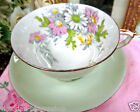 PARAGON TEA CUP AND SAUCER PALE GREEN & DAISY PAINTED TEACUP & SAUCER PATTERN