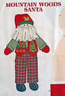 Mountain Woods Santa Claus Doll Cut & Sew Fabric Panel Christmas Pillow