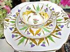 ROYAL CHELSEA TEA CUP AND SAUCER & CAKE PLATE THISTLE & GOLD GILT TEACUP