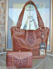 New 'Montana West' Concealed Carry Western Bag w/ tooled Leather & Wallet- Brown