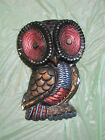 Vtg Large Abstract Modern Owl Bird Chalkware Home Decor Wall Hanging Plaque