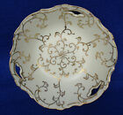 Hand Painted Gold Scroll Work Fruit Candy Bowl Artist Signed Cut-out Porcelain