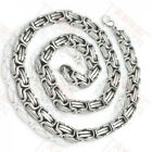 Cool Fashion Stainless Steel 8.5mm Silver Tone Byzantine Mens Necklace 21.6