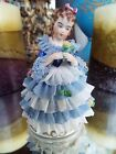 ANTIQUE GERMAN DRESDEN LACE DECORATED GIRL FIGURINE NR