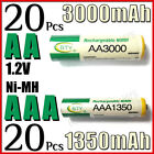 20 AA + 20 AAA 3000mAh 1350mAh rechargeable battery NiMH 2A 3A LR06 LR03 BTY G