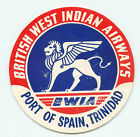 BWIA BRITISH WEST INDIAN AIRWAYS TRINIDAD OLD AIRLINE AVIATION LUGGAGE LABEL