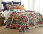 Exotic Moroccan KING Quilt Coverlet Orange Aqua Teal Blue Red Floral Zanzibar